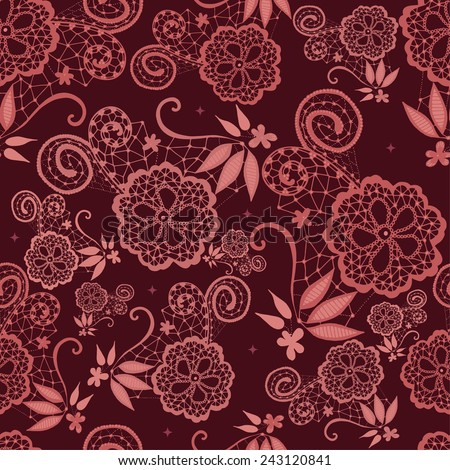 Hand-drawn flowery design with lace in Marsala tones, this year's color. - stock vector