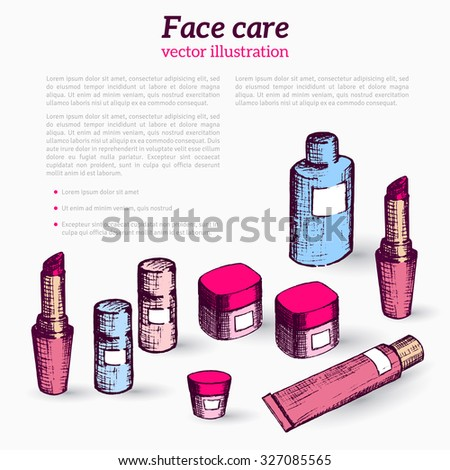 Hand drawn flyer template with make-up products. Doodle cosmetics background for  beauty shop. Brochure design, folder, flyers, banners. - stock vector