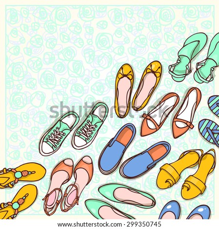 Hand drawn flyers template for shoes shop. Doodle background for corporate identity store. Printed materials for brochures, folder, flyers, banners. - stock vector
