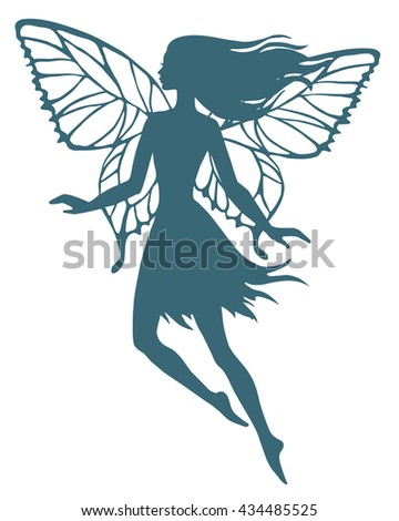 Hand drawn flying fairy, vector silhouette illustration.