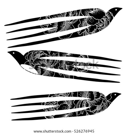 Hand drawn flying swallow birds vintage retro style in flowers. Tattoo art. Vector illustration.