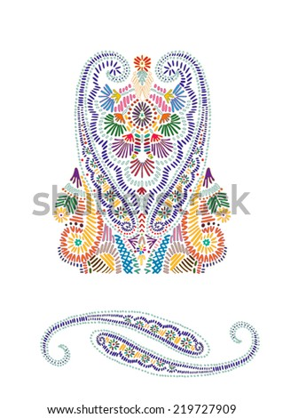 Hand drawn folk design elements with paisley motif. - stock vector