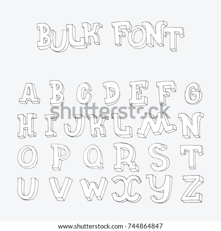 Hand Drawn Font Letters Sequence From A To Z In Doodle 3d Style Imperfect Bulb