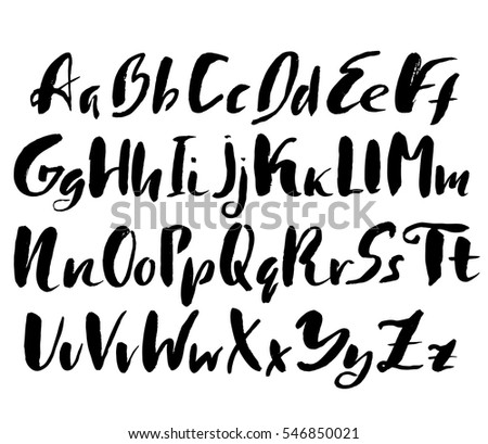 Hand Drawn Font Made By Dry Brush Strokes Grunge Style Alphabet