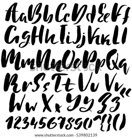 hand drawn font made by dry brush strokes grunge style alphabet handwritten font