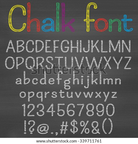 Hand drawn font on chalk background. Alphabet, numbers, punctuation marks. One letter, one compound path. Easy to change colors for your design. - stock vector