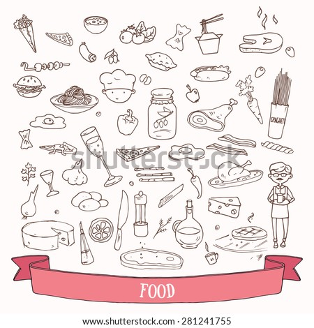 Hand drawn food and meal doodles. Vector set of design element. - stock vector