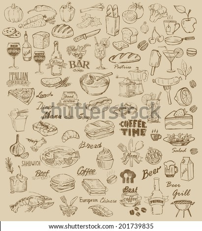 hand drawn food and meal on beige - stock vector