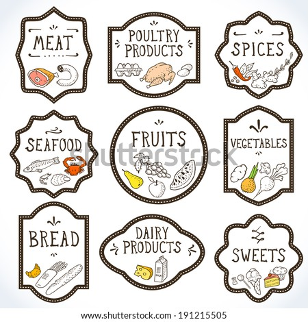 Hand Drawn Food Badges Set. Vector illustration, eps10. - stock vector