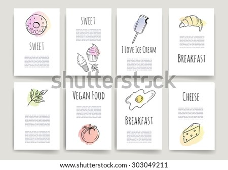 Hand drawn food cards.Doodle set. Invitation. Food Posters set. Minimalistic and stylish card design. Vector illustration. - stock vector