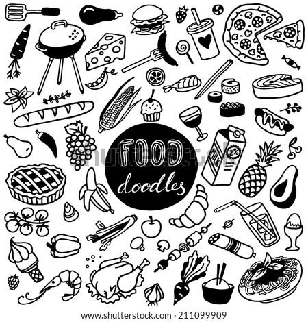 hand-drawn food doodles - stock vector
