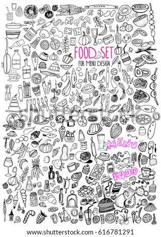 Hand drawn food elements. Set for menu decoration. Cartoon. Simple stylized forms. Black and white. food. for menu decoration. food.food.for menu decoration. for menu decoration.