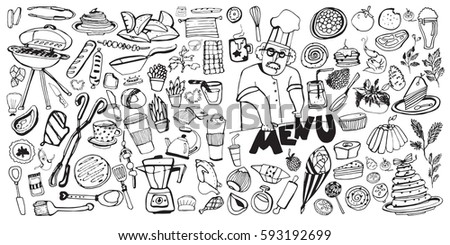 Hand drawn food elements. Set for menu decoration. Cartoon. Simple stylized forms.. food. food.food. for menu decoration. for menu decoration.for menu decoration.