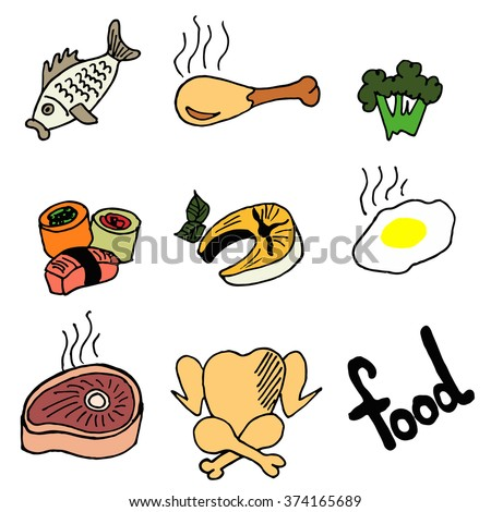 Hand drawn food icon  set. Doodle vector Illustration.