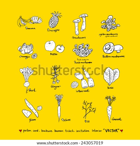 Hand drawn food ingredients / food menu illustrations