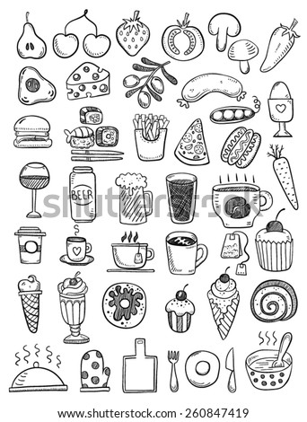 Hand drawn food objects - stock vector