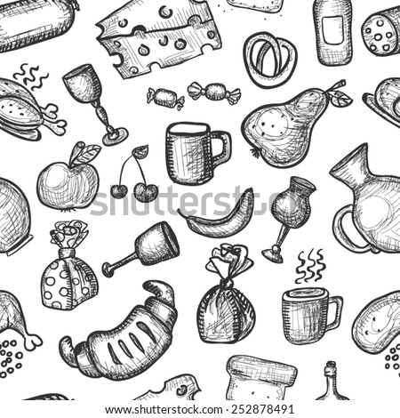 Hand drawn food objects seamless background - stock vector