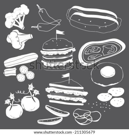 hand-drawn food on blackboard for burgers - stock vector