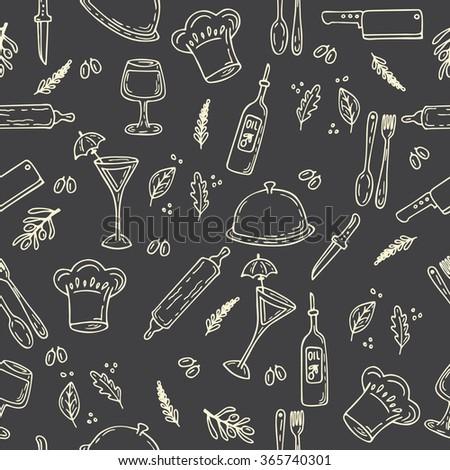 Hand drawn food seamless pattern. Sketch kitchen design elements. Retro style food design. Vector illustration - stock vector
