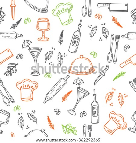 Hand drawn food seamless pattern. Sketch kitchen elements for your design. Vector illustration - stock vector