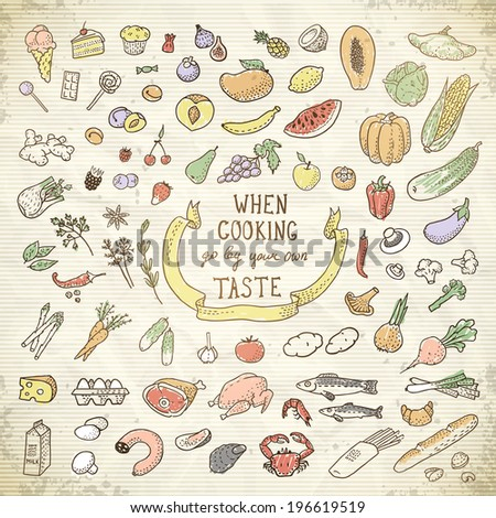 Hand Drawn Food Set. Vector illustration, eps10. - stock vector