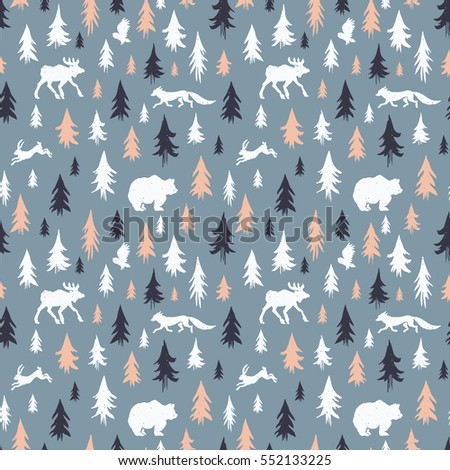 Hand-drawn forest silhouettes seamless pattern with animals:elk, fox, hare, bear, owl