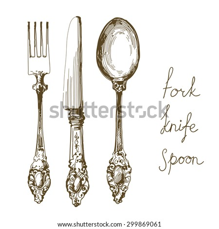 hand drawn fork, knife and spoon ornate  - stock vector