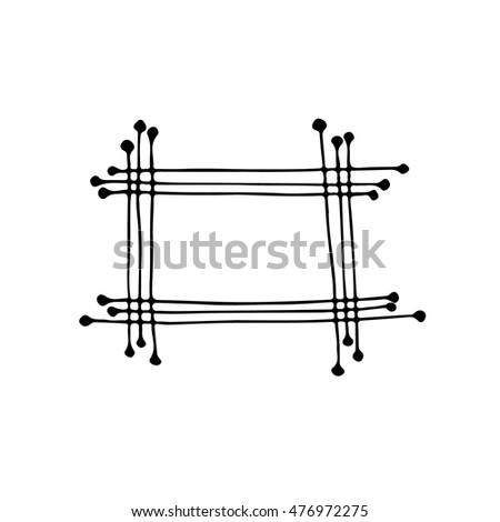 Hand drawn frame. Cartoon style. Vector.Isolated. Outline. Doodle sketch