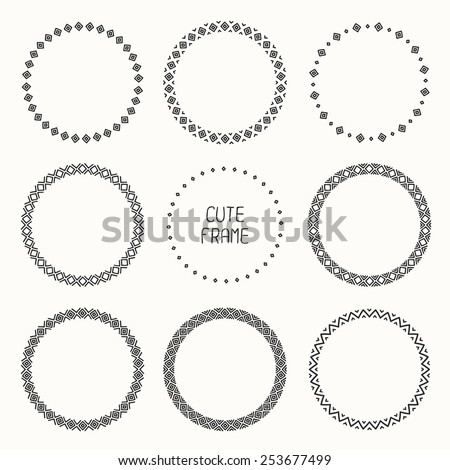 Hand drawn frame of geometric pattern. Trendy doodle style. Vector set of wreaths design elements. Beautiful simple illustration. - stock vector