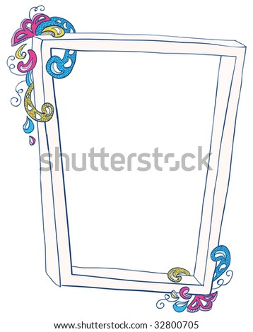 Hand-drawn frame with doodled decorations. - stock vector