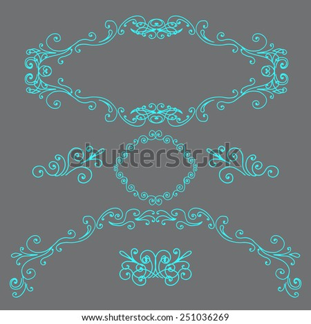 Hand drawn frames and borders - stock vector