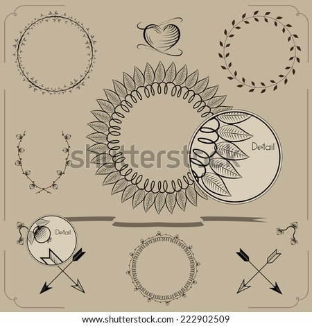 Hand drawn frames and laurels. Vintage curl ornamental elements that can be used as a page decoration. Hand drawn design - stock vector