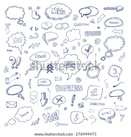 Hand drawn freestyle doodles, arrows and icons set, vector illustration