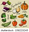 hand drawn fresh color vegetables on beige - stock vector