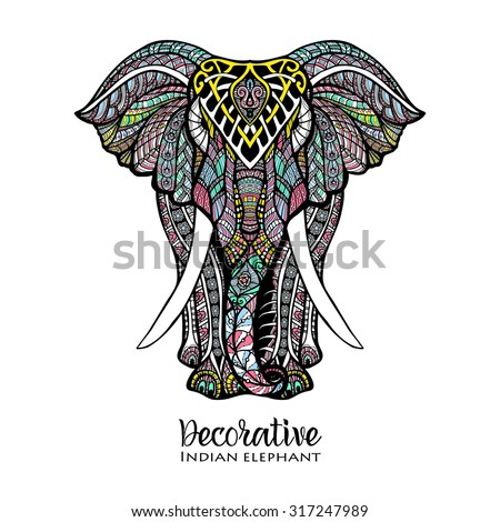 Hand drawn front view elephant with colored ornament vector illustration - stock vector