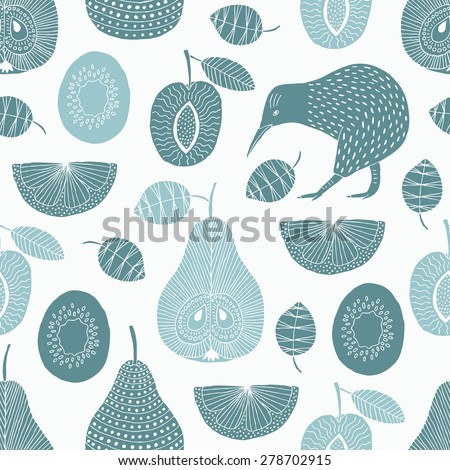 Hand drawn fruit and kiwi seamless pattern. Vector illustration.