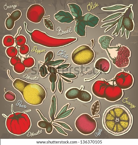 Hand drawn fruit and vegetables set - stock vector