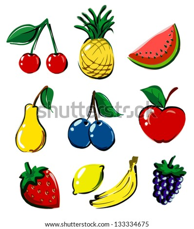 hand drawn fruit icon collection