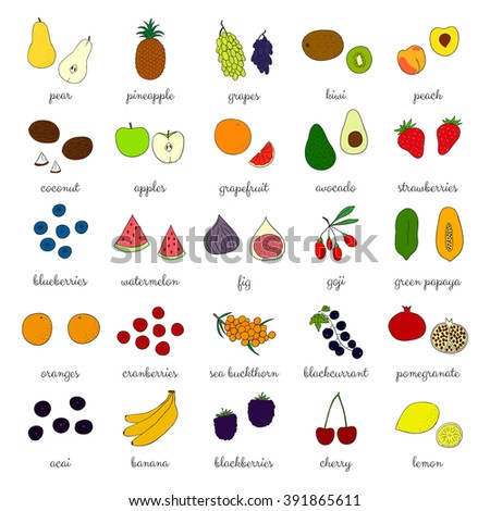 Hand drawn fruits and berries isolated on white. Pineapple, strawberry, acai, goji, kiwi, apple, grapefruit, banana, blackberry, sea buckthorn, cherry, lemon, blackcurrant, fig, papaya, grape, peach. - stock vector