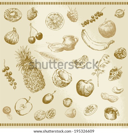 hand drawn fruits and muesli collection - stock vector