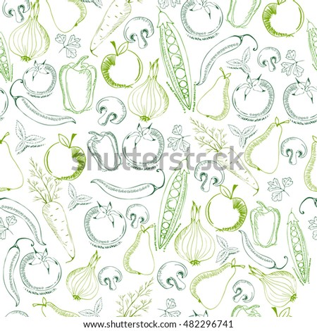 hand drawn fruits and vegetables pattern vector
