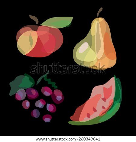 Hand drawn fruits: apple, pear, watermelon, grape. Vegetables vector illustration, doodle design. Watercolor imitation. Cute fruit background. Hand drawn fruit icons.  - stock vector