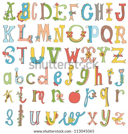 Hand-drawn funny alphabet isolated on white. - stock vector