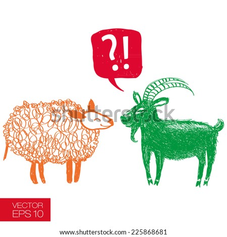 Hand drawn funny goat wondering 2015 is a sheep's year too. Graphic careless style with speech bubble and question mark. New 2015 Year theme. Vector illustration - stock vector