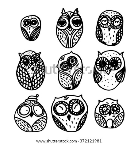 Hand  Drawn Funny Owl. Owls set for print, fabric, wrap, illustration. Vector - stock vector