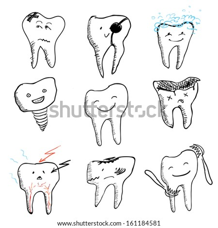hand drawn funny teeth, vector icons collection - stock vector