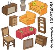 hand drawn furniture - stock vector
