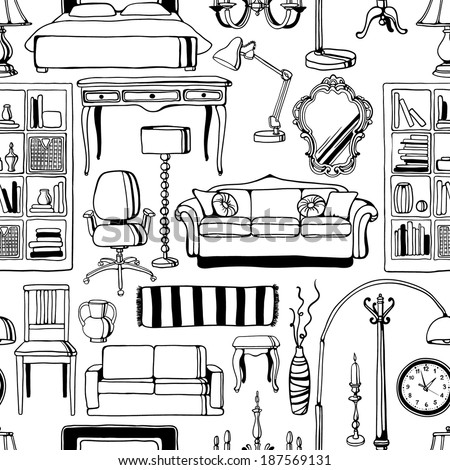 hand-drawn furniture seamless pattern - stock vector