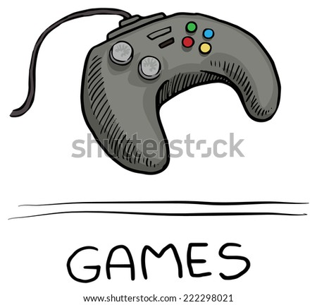 hand drawn Game controller, icon, symbol, vector illustration - stock vector