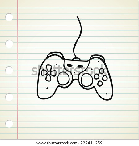 hand drawn game pad  - stock vector